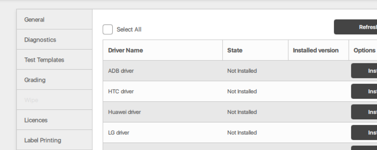 Driver Manager / M360 / Mobile Diagnostics & Utility